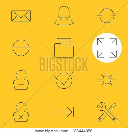 Vector Illustration Of 12 UI Icons. Editable Pack Of Sunshine, Banned Member, Maintenance And Other Elements.