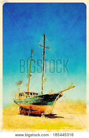 Digital watercolour of old abandoned ship in a blue sky