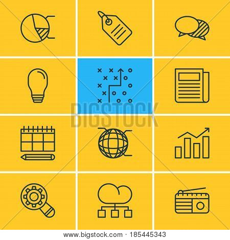 Vector Illustration Of 12 Advertising Icons. Editable Pack Of Lamp, Tactical Plan, Analysis And Other Elements.