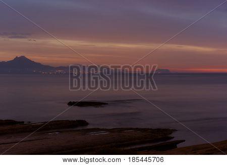 Coastline of a Sant Joan at sunrise. Costa Blanca Alicante province. Spain