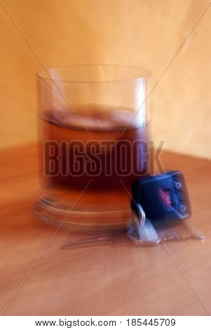 A conceptual image on the subject of drunk drivers using a camara lens technique to give an illusion of blurry drunken thinking.