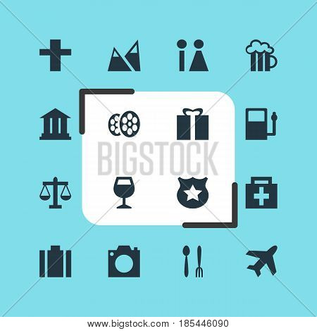 Vector Illustration Of 16 Travel Icons. Editable Pack Of Present, Aircraft, Cop And Other Elements.