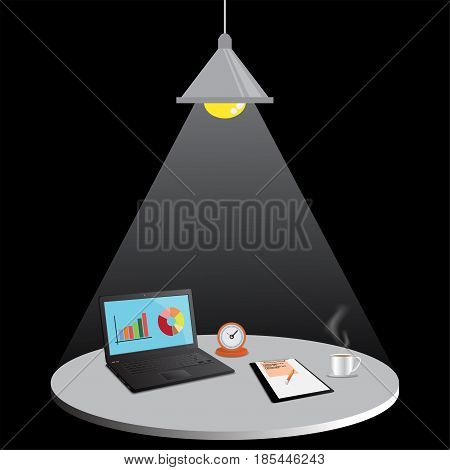 Laptop computer with Document file Work at night,  working late, working overtime, vector illustration.
