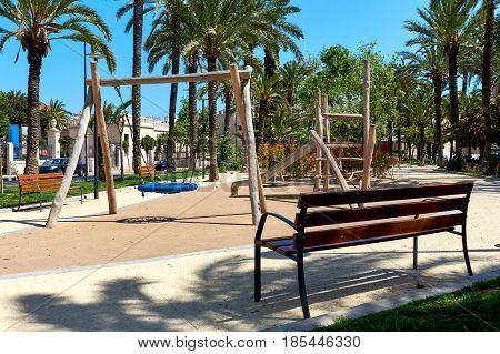 Wooden playground. Alicante city Costa Blanca. Spain