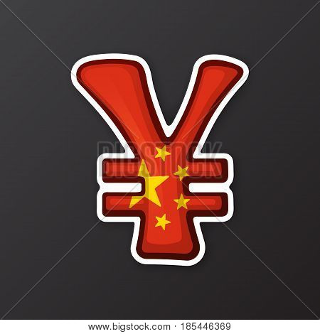Vector illustration. Yuan sign in national flag colors with two lines. Symbol of world currencies. Sticker in cartoon style with co ntour. Decoration for patches, prints for clothes, badges, posters, emblems