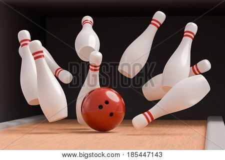 Bowling Ball Is Knocking Down Pins (strike). 3D Rendered Illustr