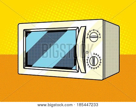 Microwave oven pop art style vector illustration. Comic book style imitation