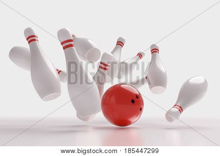 3D Rendered Illustration Of Bowling Ball Knocking Down Pins (str