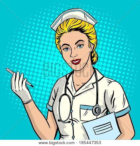 Nurse pop art retro vector illustration. Comic book style imitation.