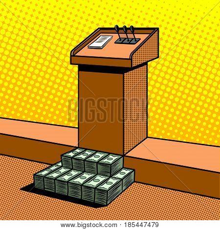 Corruption metaphor in politics pop art style vector illustration. Comic book style imitation