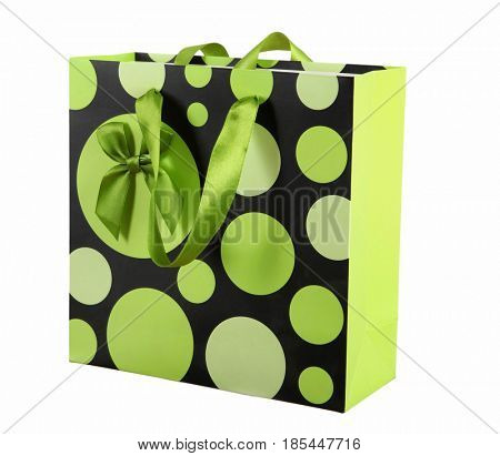 Green paper shopping bags on a white background.