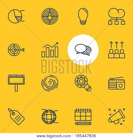 Vector Illustration Of 16 Social Icons. Editable Pack Of Advancement, Cloud Distribution, Circle Diagram And Other Elements.