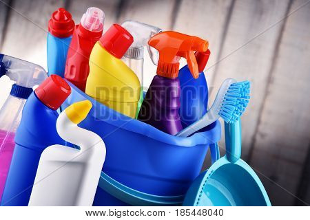 Variety Of Detergent Bottles And Chemical Cleaning Supplies