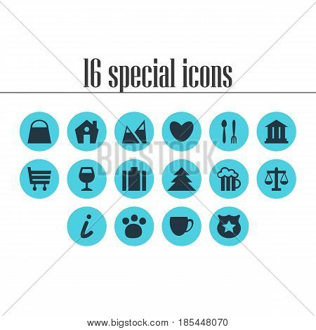 Vector Illustration Of 16 Location Icons. Editable Pack Of Map Information, Cafe, Scales And Other Elements.