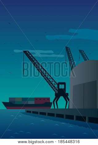 Cartoon illustration of a port at night.