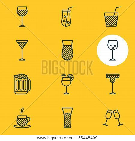 Vector Illustration Of 12 Beverage Icons. Editable Pack Of Cocktail, Drink, Martini And Other Elements.