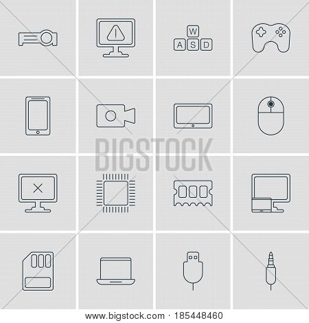 Vector Illustration Of 16 Laptop Icons. Editable Pack Of Access Denied, Memory Chip, Cursor Manipulator And Other Elements.
