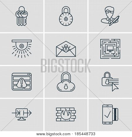 Vector Illustration Of 12 Privacy Icons. Editable Pack Of Confidentiality Options, Copyright, Safe Lock And Other Elements.