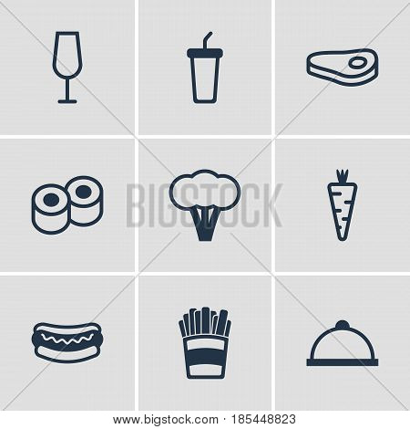 Vector Illustration Of 9 Cuisine Icons. Editable Pack Of Goblet, Platter, Sirloin And Other Elements.