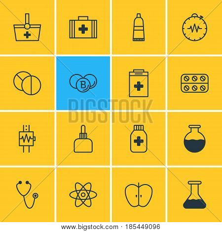 Vector Illustration Of 16 Medical Icons. Editable Pack Of Heartbeat, Round Tablet, Pills And Other Elements.