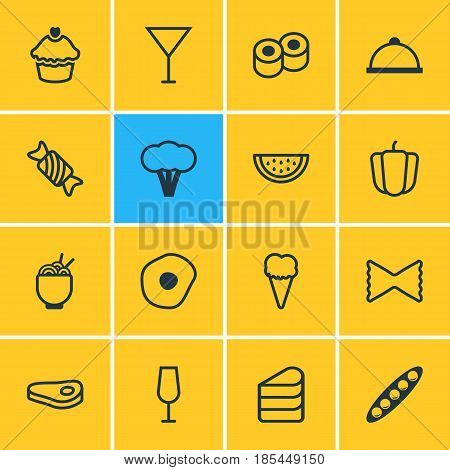 Vector Illustration Of 16 Cooking Icons. Editable Pack Of Platter, Sirloin, Scrambled Egg And Other Elements.