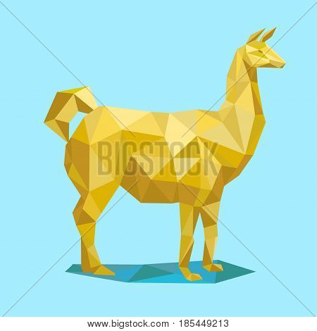 Yellow lama. Animal Low poly Vector ilustration