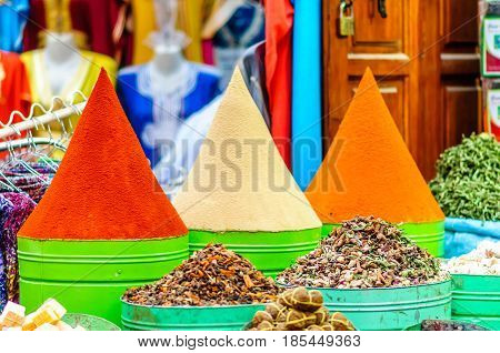 View on spices on market in Marrakech - Morocco