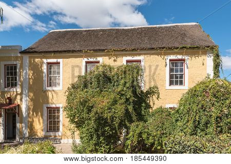 GENADENDAL SOUTH AFRICA - MARCH 27 2017: Hallbeck House in Genadendal built 1892 now an educational and research centre. Genadendal was the first mission station in South Africa founded 1738
