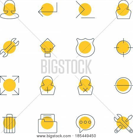 Vector Illustration Of 16 Interface Icons. Editable Pack Of Accsess, Garbage, Female User And Other Elements.