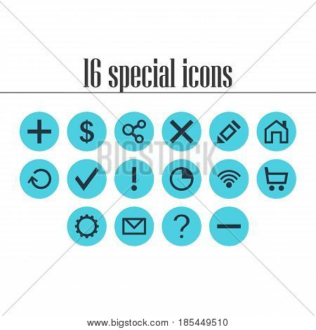 Vector Illustration Of 16 User Icons. Editable Pack Of Alert, Renovate, Publish And Other Elements.