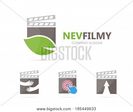 Vector of clapperboard and leaf logo combination. Cinema and eco symbol or icon. Unique organic and video logotype design template.