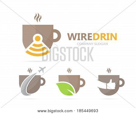 Vector of coffee and wifi logo combination. Drink and signal symbol or icon. Unique cup and radio, internet logotype design template.