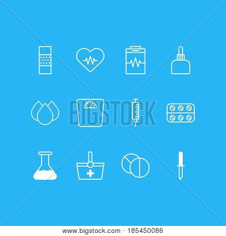 Vector Illustration Of 12 Health Icons. Editable Pack Of Pipette, Band Aid, Weighing Elements.