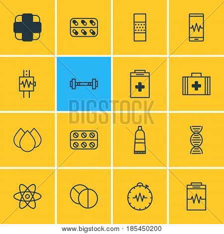 Vector Illustration Of 16 Medical Icons. Editable Pack Of Pressure Gauge, Round Tablet, Trickle And Other Elements.