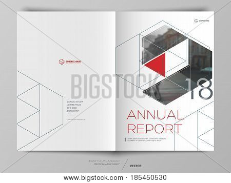 Cover design annual report, cover, vector template brochures, flyers, presentations, leaflet, magazine a4 size. Red with dark blue abstract background - stock vector
