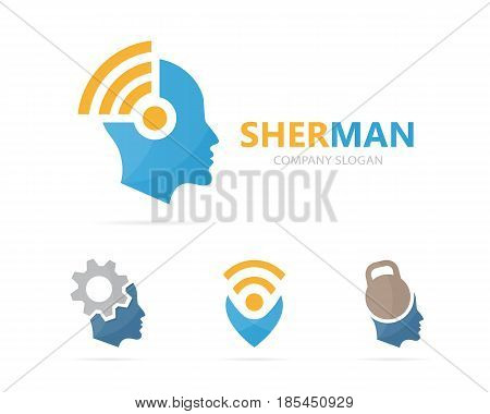 Vector of man and wifi logo combination. Face and signal symbol or icon. Unique human and radio, internet logotype design template.