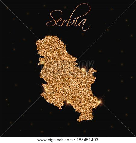 Serbia Map Filled With Golden Glitter. Luxurious Design Element, Vector Illustration.