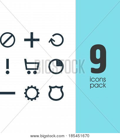 Vector Illustration Of 9 Interface Icons. Editable Pack Of Minus, Alert, Cogwheel And Other Elements.