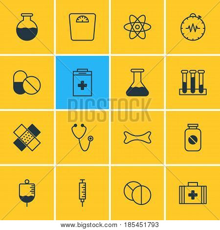 Vector Illustration Of 16 Medical Icons. Editable Pack Of Flask, Experiment Flask, Pressure Gauge And Other Elements.