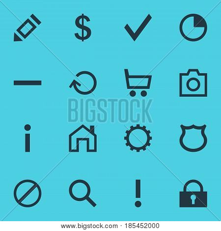 Vector Illustration Of 16 User Icons. Editable Pack Of Padlock, Stopwatch, Info And Other Elements.