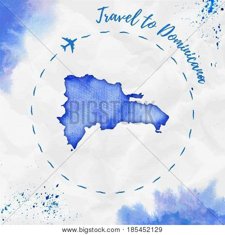 Dominicana Watercolor Map In Blue Colors. Travel To Dominicana Poster With Airplane Trace And Handpa
