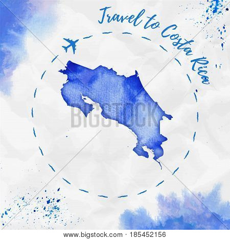 Costa Rica Watercolor Map In Blue Colors. Travel To Costa Rica Poster With Airplane Trace And Handpa