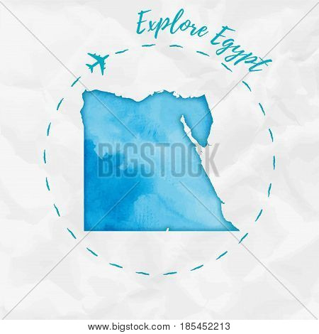 Egypt Watercolor Map In Turquoise Colors. Explore Egypt Poster With Airplane Trace And Handpainted W