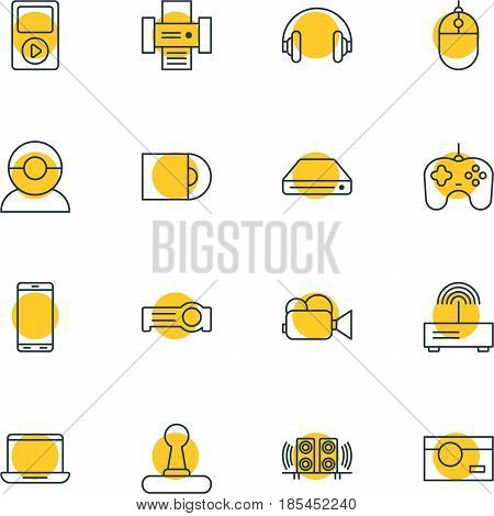 Vector Illustration Of 16 Technology Icons. Editable Pack Of Camcorder, Photography, Joypad And Other Elements.