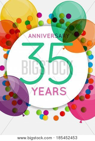 Template 35 Years Anniversary Congratulations, Greeting Card, Invitation Vector Illustration EPS10