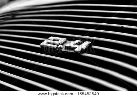Berlin, Germany - May 11: Air Vents The Engine Compartment Porsche 911 Targa 2,4 T Close-up, (black