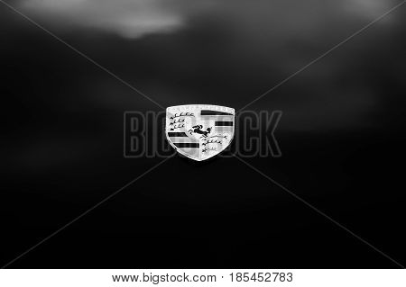 Berlin, Germany - May 11: Emblem Porsche 911 Targa 2,4 T Close-up, (black And White),