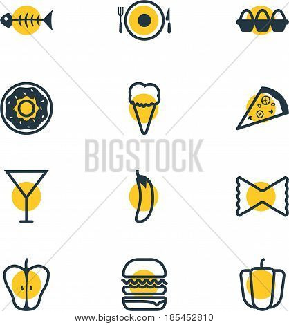 Vector Illustration Of 12 Cooking Icons. Editable Pack Of Sundae, Aubergine, Serving And Other Elements.