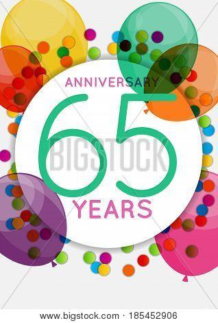Template 65 Years Anniversary Congratulations, Greeting Card, Invitation Vector Illustration EPS10
