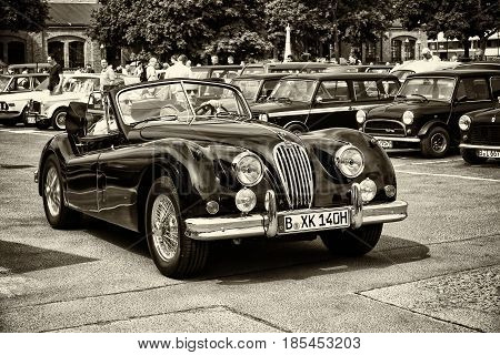 Berlin - May 11: A Sports Car Jaguar Xk140 Roadster (sepia), 26Th Oldtimer-tage Berlin-brandenburg,